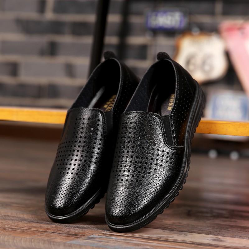 男皮鞋懶人鞋休閒鞋 鞋英倫鞋皮鞋球休閒鞋子休閒皮鞋 鞋子 皮鞋春 男士廚師鞋涼皮鞋軟底男皮