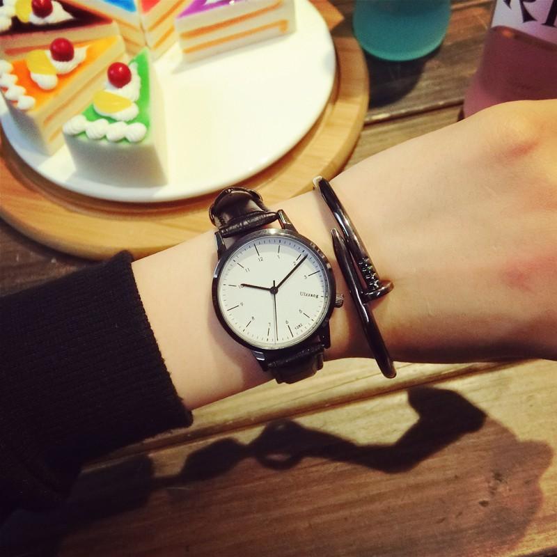 復古手錶女生學生 簡約防水真皮帶潮流 小錶盤情侶石英男表