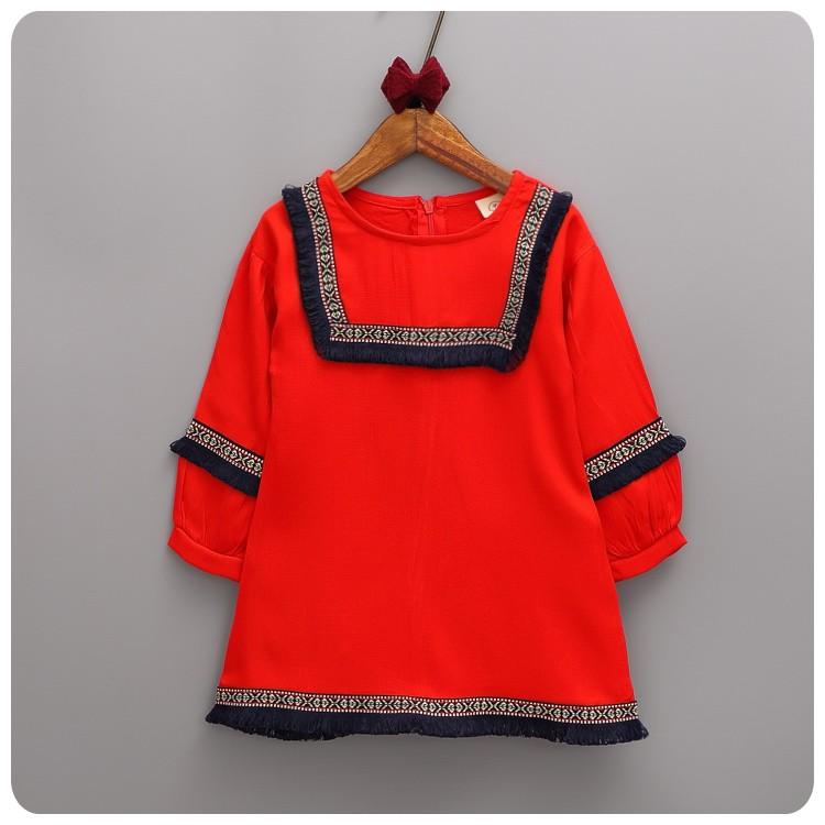 新品特惠2016 女童大紅流蘇民族風連衣裙小洋裝 加