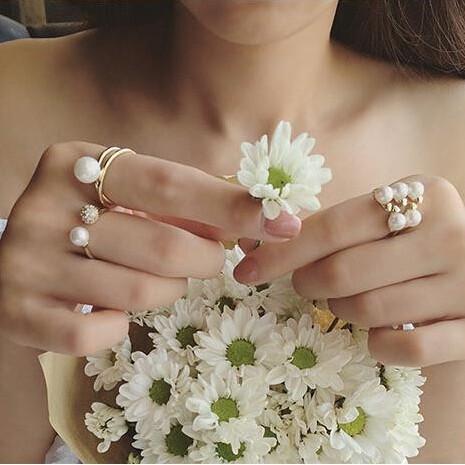 日韓國珍珠三件套女戒指鑲水鉆指環潮人 誇張食指關節尾戒飾品