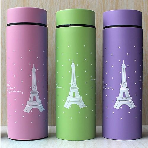 紫星空點點艾菲爾鐵塔食用級304 不鏽鋼雙層真空保溫瓶保溫杯隨身杯隨身瓶不銹鋼保冰保冷水壺