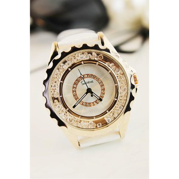 水鑽精鋼真皮 潮流 氣質優雅石英防水女性手錶