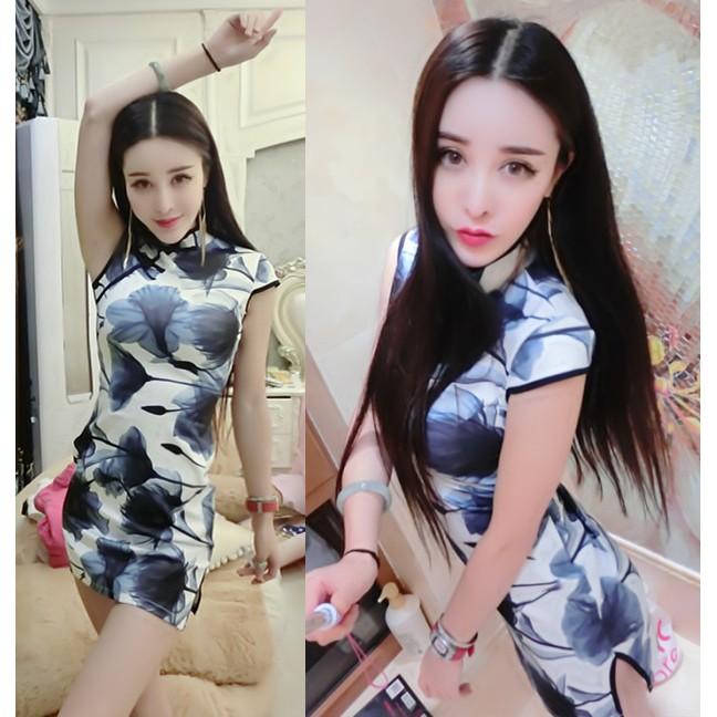 附實拍照❤中國風復古水墨印花短袖旗袍洋裝S M 碼A95 閨密角色扮演派對