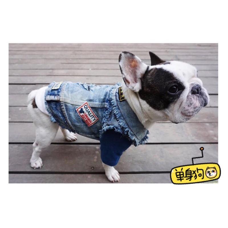 ۞芙芙遊樂園۞2016 寵物牛仔背心刷舊刷白貼布搖滾巴哥胖狗外搭 米奇 小背心馬甲薄款