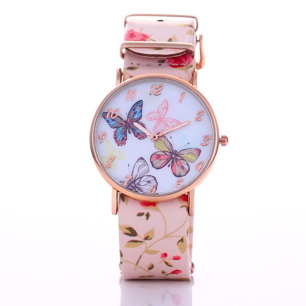 2016 年 女裝腕錶皮革石英圓形錶盤數字手錶蝴蝶圖案腕錶