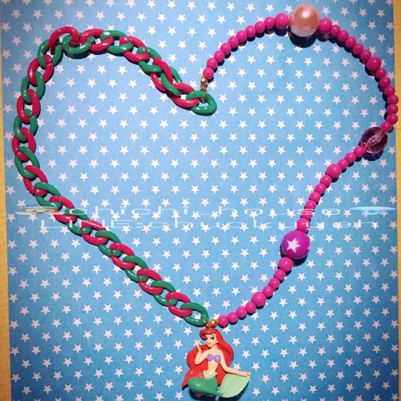 串珠項鍊公仔項鍊迪士尼愛麗兒小美人魚公主客製化兒童項鍊寵物項鍊