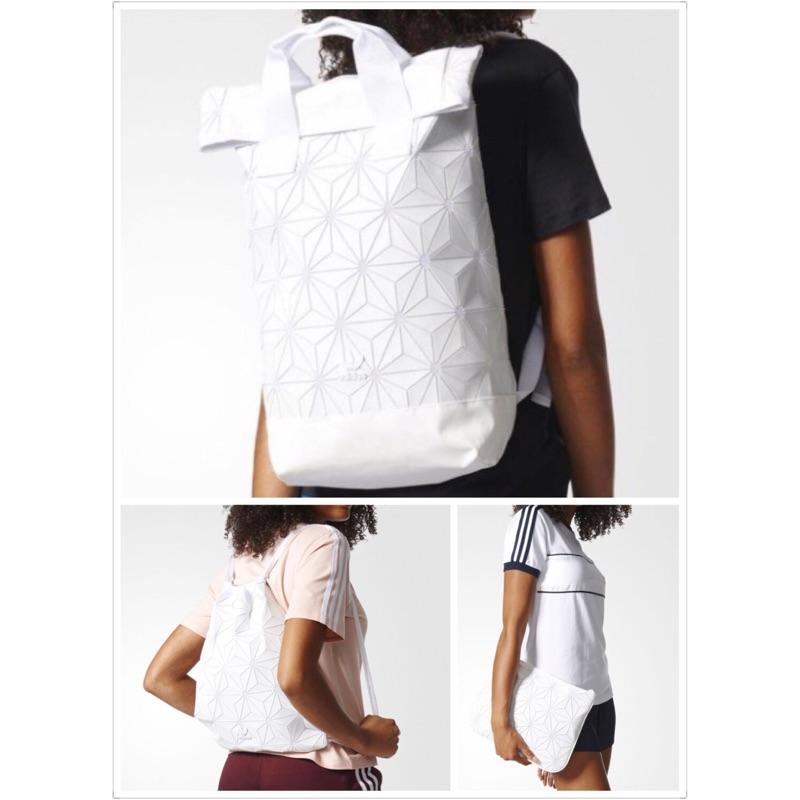 ADIDAS BP ROLL TOP 3D 三宅ㄧ生純白菱格 後背包束口袋手拿包