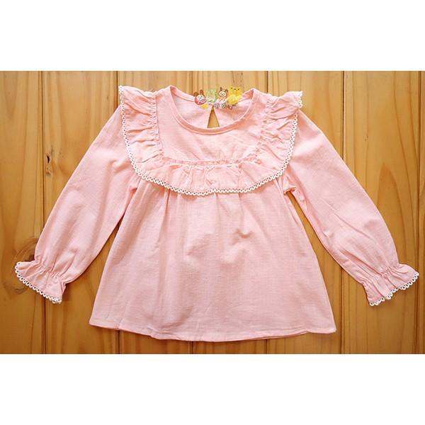 15026 麻紗粉色滾邊薄長袖上衣11 15 號中小童