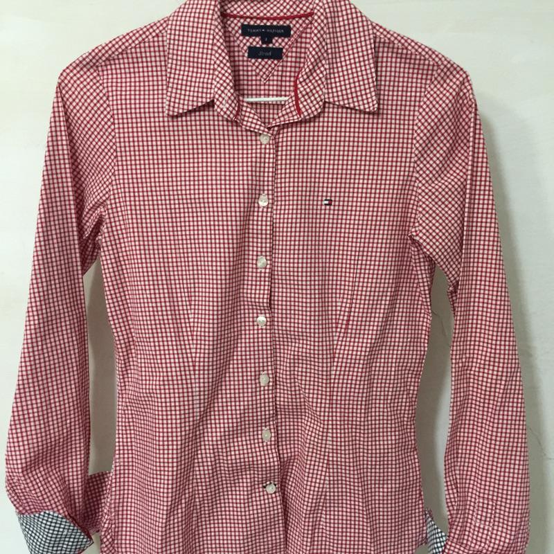 美國帶回專櫃正品TOMMY HILFIGER 格紋紅色腰線襯衫