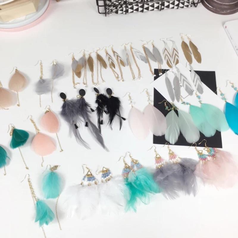 77 [極簡小鋪]耳環耳夾耳釘韓國日韓系波西米復古民族度假風格彩色串珠羽毛耳環耳飾