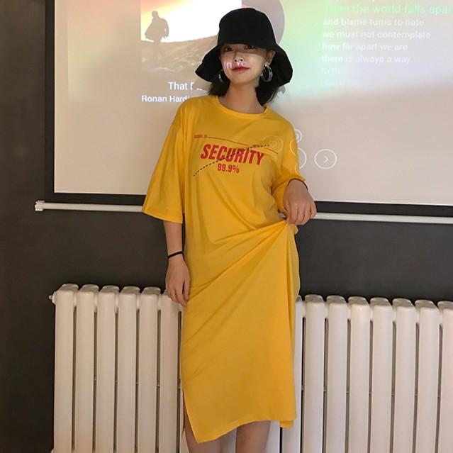 學院風休閒韓國 氣質簡約百搭圓領中袖前後字母印花寬松顯瘦T 恤裙女