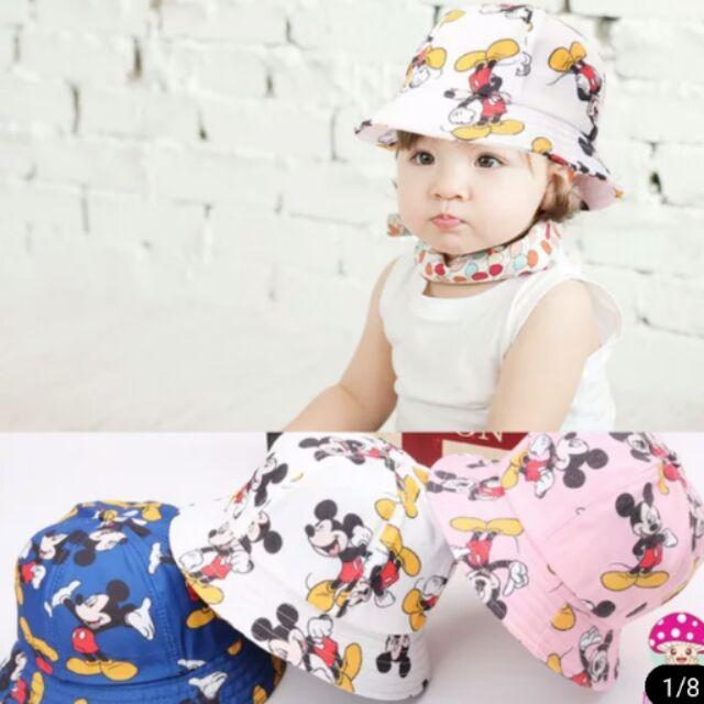 女童男童男女寶寶米奇卡通塗鴉盆帽漁夫帽遮陽帽