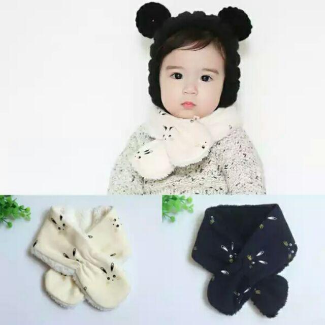兔子加絨寶寶圍巾嬰兒圍巾 保暖男女兒童圍脖
