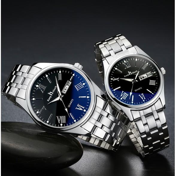 正品藍光手錶男士防水夜光鋼帶機械男表石英表潮流學生女款情侶表