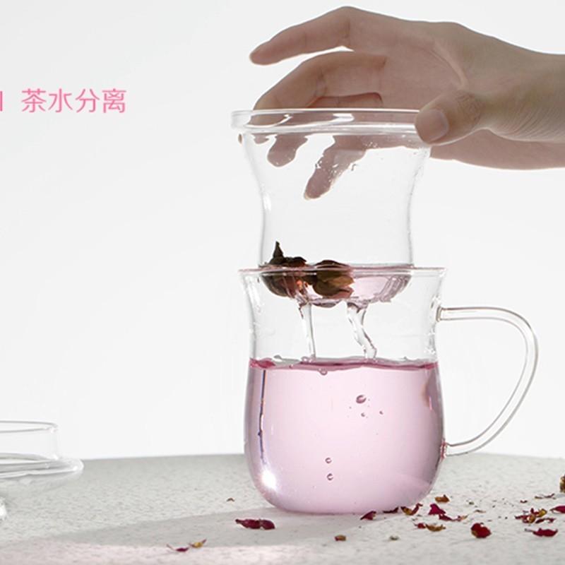 Coco 昕曦坊大希玻璃杯花茶杯透明過濾泡茶杯女水杯杯子帶蓋辦公室茶具茶杯不鏽鋼保溫保冰保
