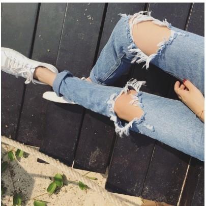 Girl 潮流‖男友褲刷破大破洞破洞牛仔褲牛仔長褲百搭丹寧 夏天BF 復古韓國韓款抽鬚反折
