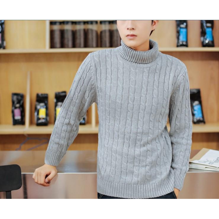 2016 男裝 高領套頭毛衣針織衫男士修身麻花毛衣