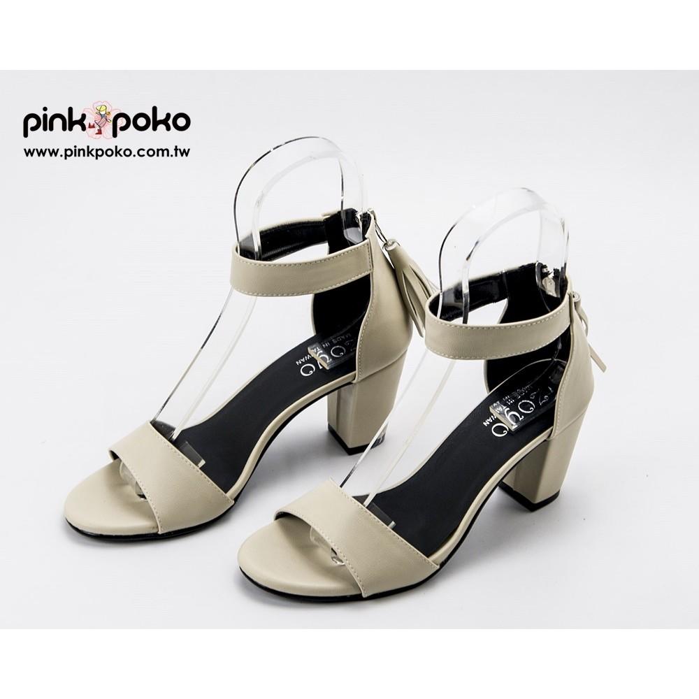 涼鞋~簡約一字繞踝流蘇後拉鍊粗跟高跟涼鞋2 色1031