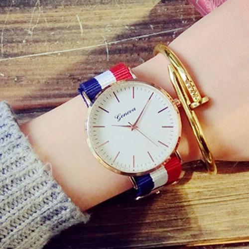 W054 韓國英倫尼龍帆布 潮流休閒簡約文青閨蜜男錶對錶女錶學生手錶皮帶手表