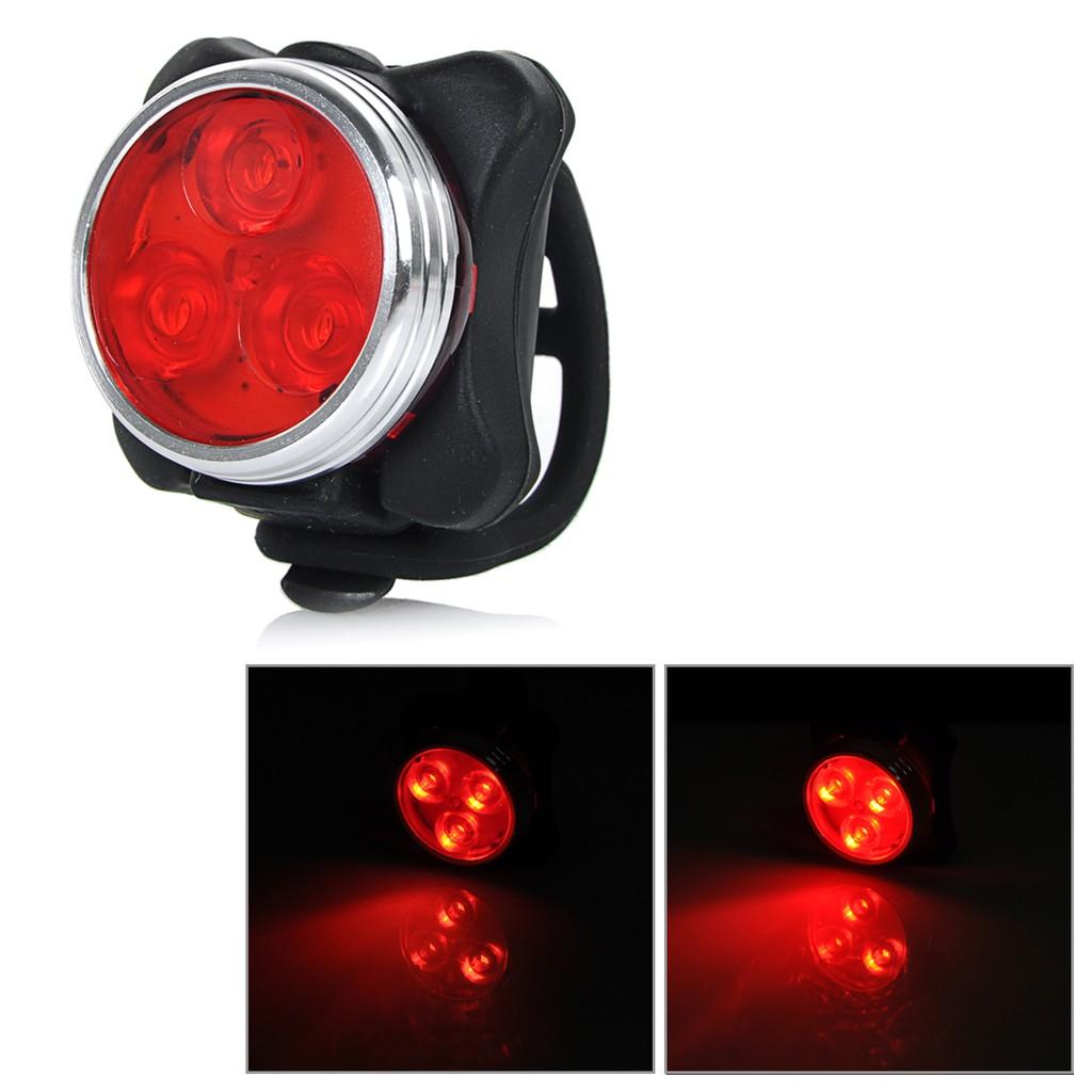 超亮3LED 自行車燈自行車強光燈安全警示燈USB 充電強光燈黑色透明紅