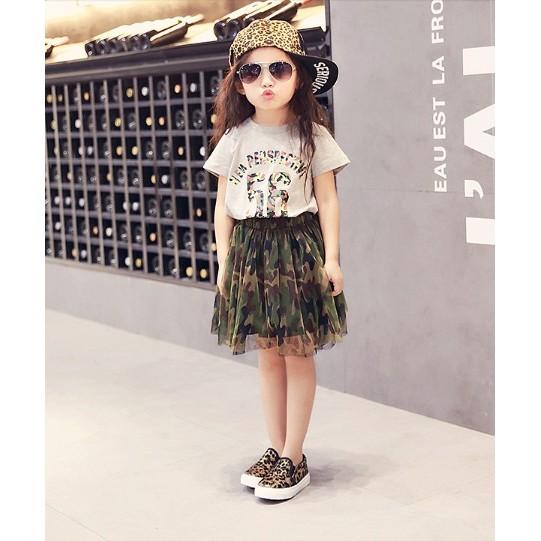 女童套裝紗紗迷彩短裙 短袖T 恤 兒童兩件組灰T 迷彩裙