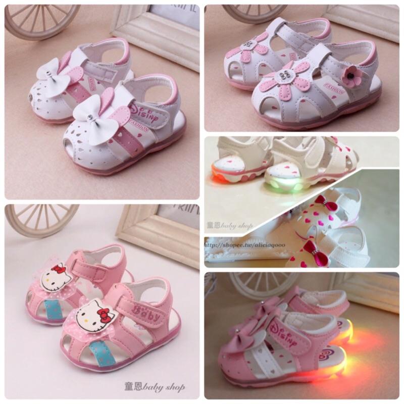 多款零碼 發亮閃燈卡通kitty 貓寶寶學步鞋涼鞋止滑鞋