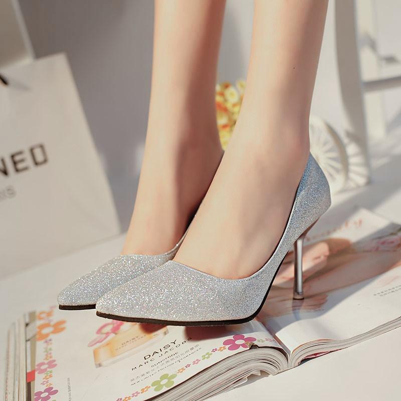 2016 秋 高跟鞋女細跟秋鞋金色尖頭婚鞋水晶宴會禮服紅鞋新娘鞋