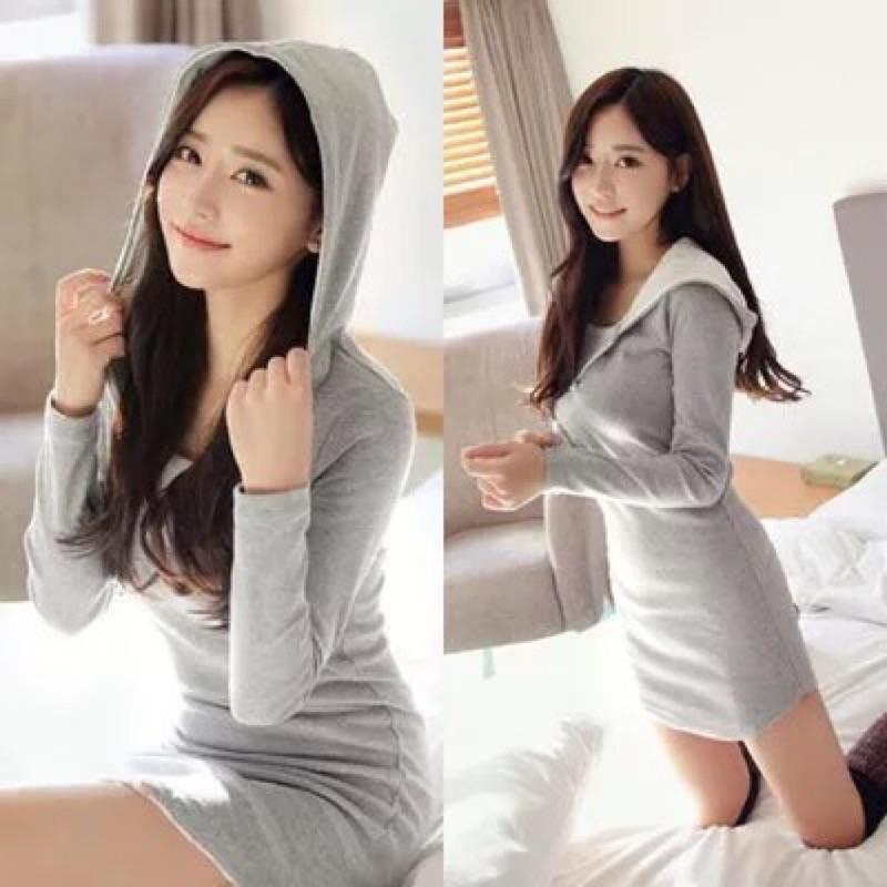 休閒連帽超薄棉衛衣長袖修身連衣裙打底包臀短裙