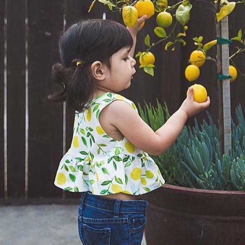 蓁誠 女童女寶兒童寶寶小童嬰幼兒套裝可愛水果檸檬無袖圓領背心上衣鬆緊腰麵包褲短褲