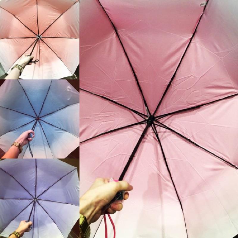 晴雨兩用傘折疊傘三色漸層粉漸層綠漸層藍腮紅 文青日系可愛