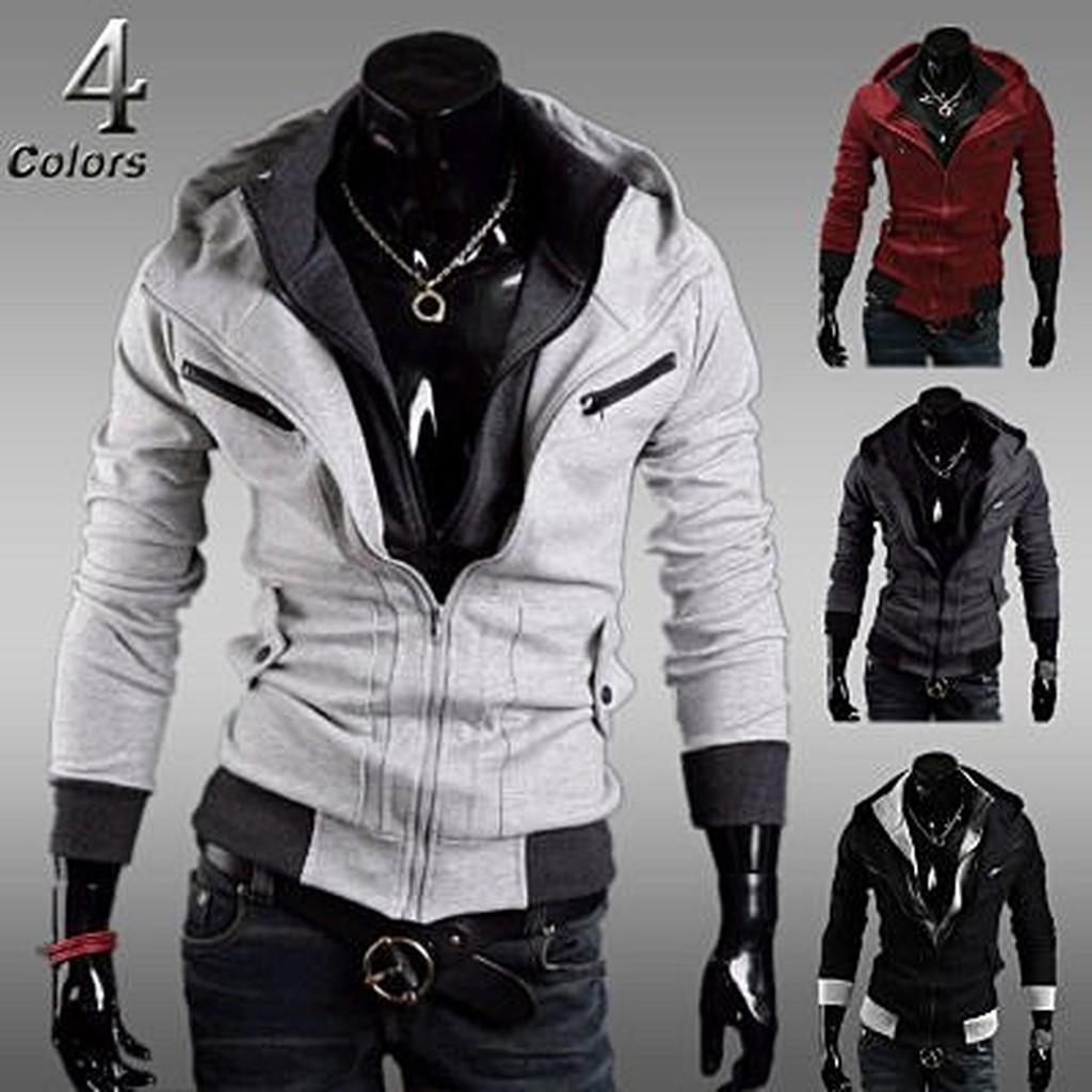 刺客線條假兩件撞色連帽修身夾克外套4 色