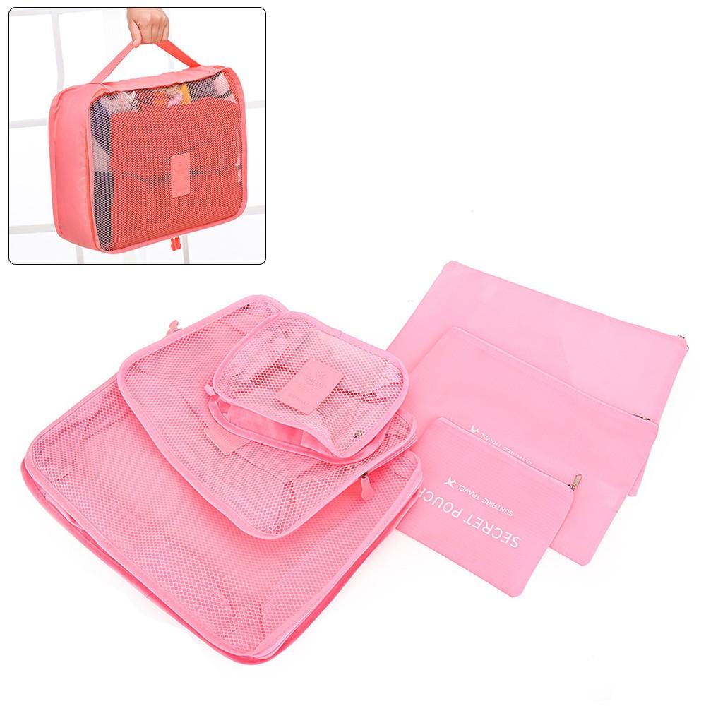 旅行防水收納袋套裝行李箱衣物內衣整理袋6 六件套粉色