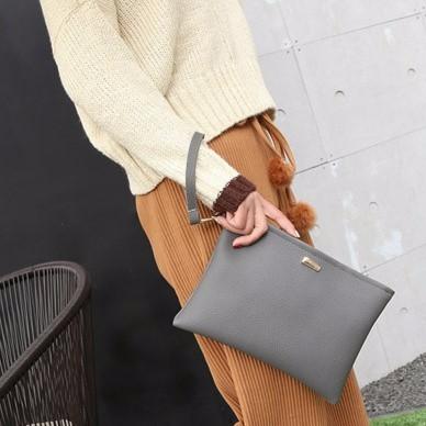 手拿包款手拿包 簡約女士荔枝紋信封包大折疊軟皮手抓包潮信封荔枝皮A10