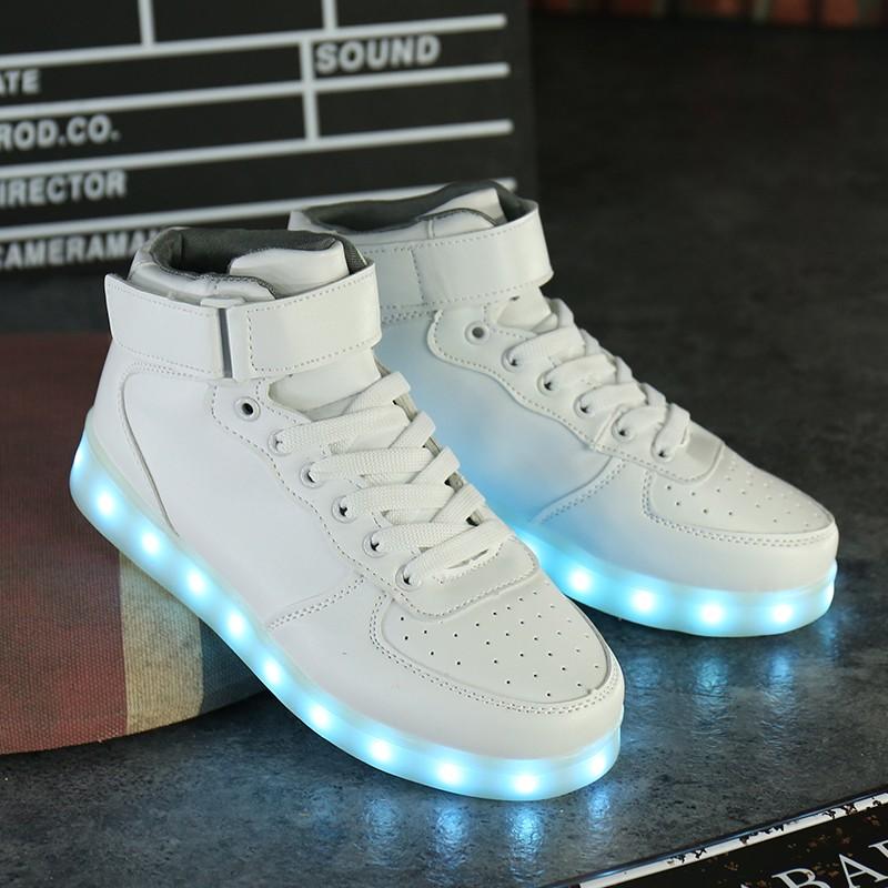 ~hello 大小姐~空軍一號七彩發光鞋LED 夜光鞋男女情侶燈鞋USB 充電熒光高幫皮板