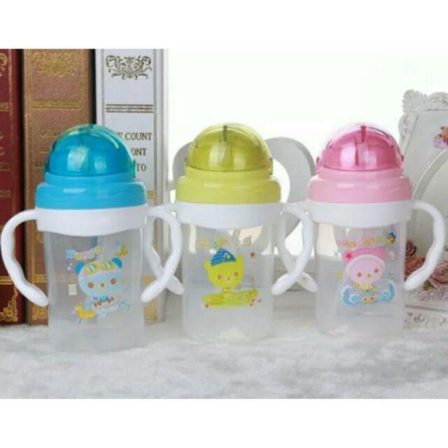 ~寶寶學習水杯帶吸管帶手板滑蓋把手訓練防漏喝水壺吸管杯水瓶