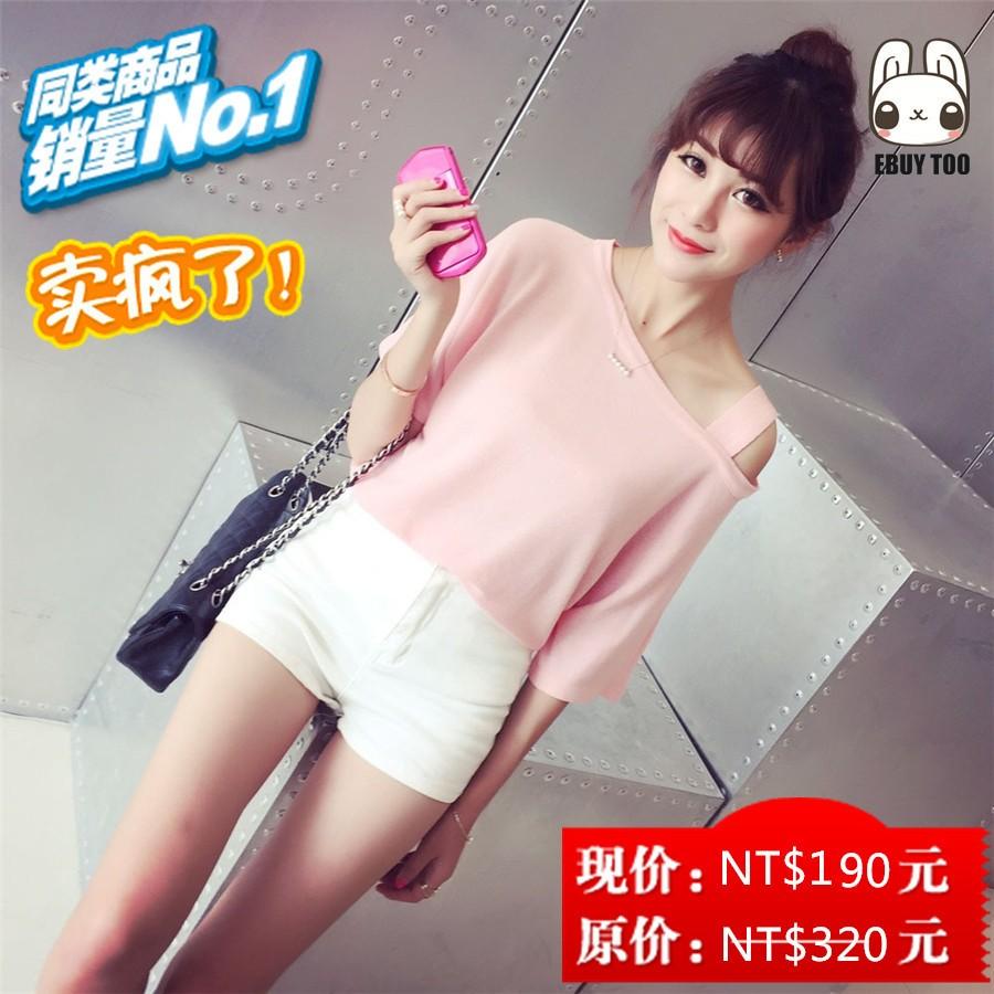 1226 (S 2XL 多 )春夏新品 女裝斜露肩大碼短袖T 恤寬松顯瘦短款性感打底衫