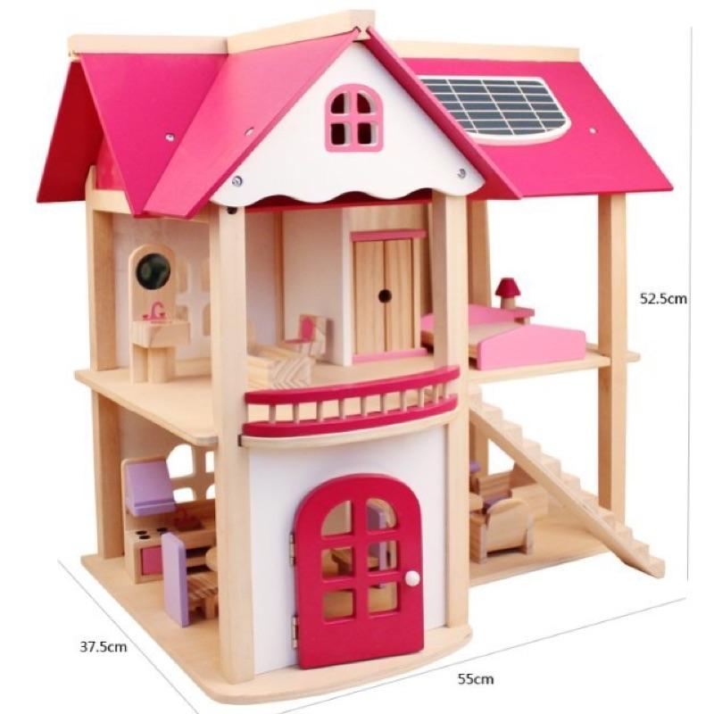樂媽小鋪木製粉色娃娃屋扮家家酒居家櫥窗擺設組裝房屋模型角色扮演