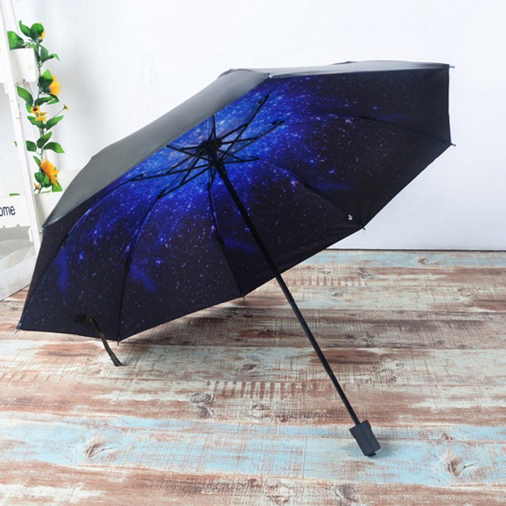 3D 星空印花晴雨傘太陽傘黑膠防紫外線遮陽傘女士防曬傘三折疊傘雨傘58 8k 星空