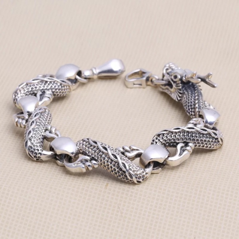 復古泰銀款龍身男士鈦鋼手鍊925S 純銀 飾品潮人生肖龍