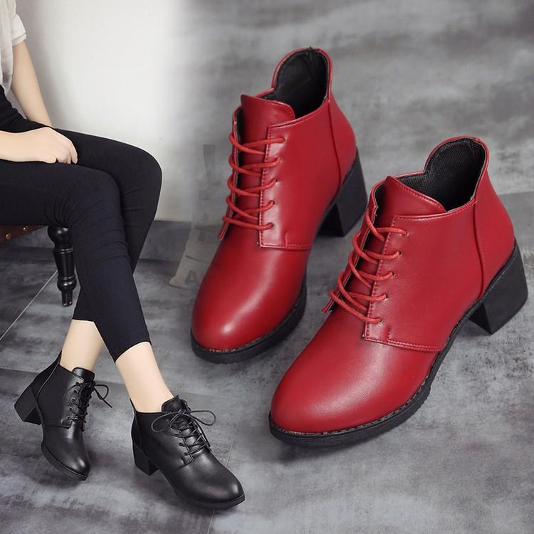 ~都市 店~n  秋 英倫風粗跟女短靴子系帶單靴加絨圓頭學生復古馬丁靴女
