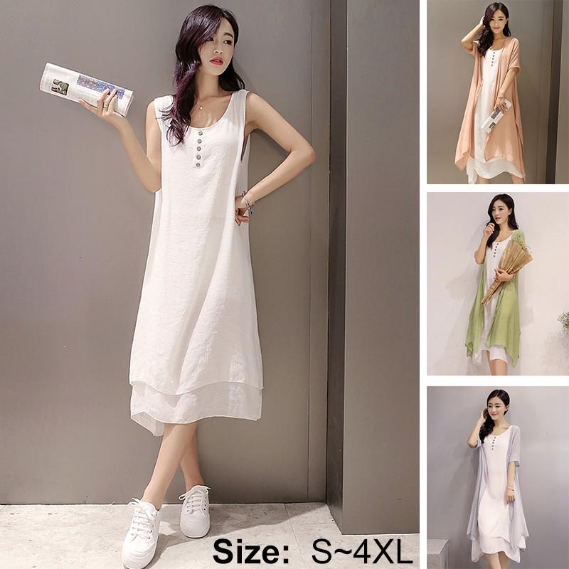 氣質文藝復古棉麻兩件套洋裝亞麻沙灘裙大碼女裝洋裝、裙子
