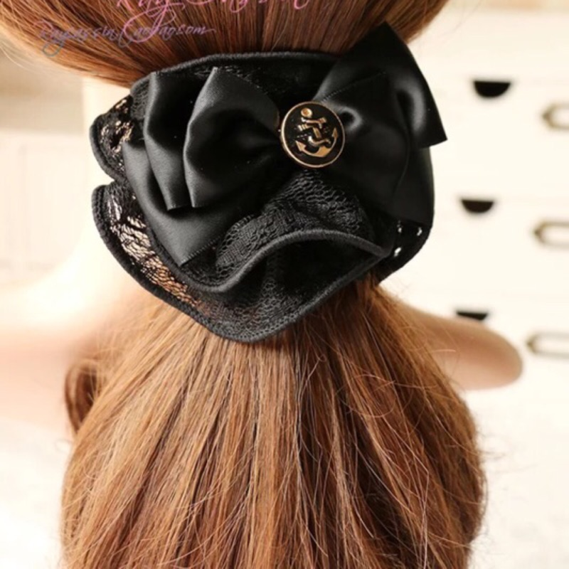 出口英國韓國氣質復古鈕扣緞帶蝴蝶結蕾絲髮圈頭髮飾