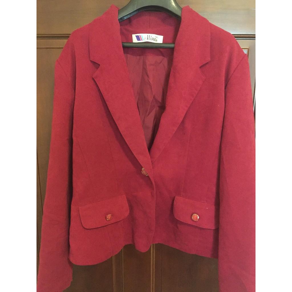 亮眼活力OL ,復古單扣西裝外套,酒紅色