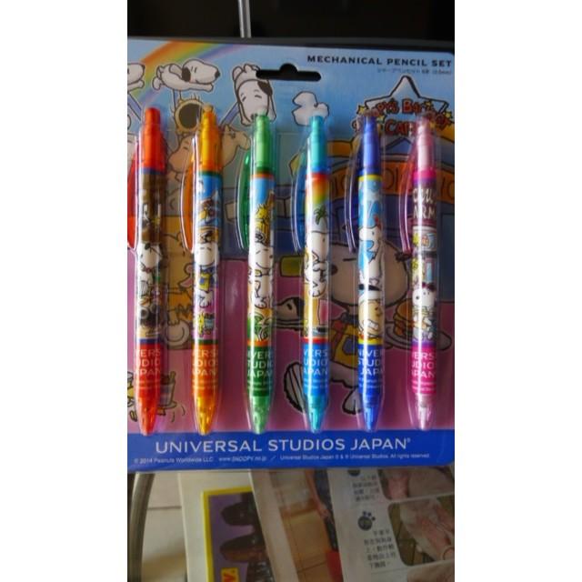 環球影城購入史努筆自動鉛筆組6 款1 組剩沒有包裝的了