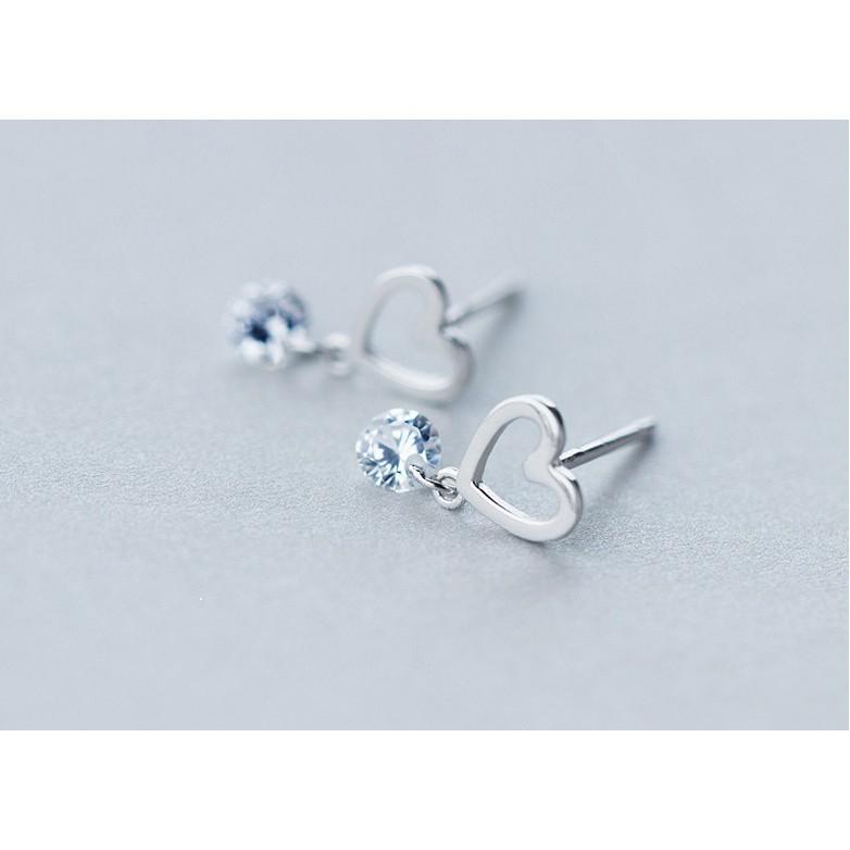 皇后銀飾晶亮典雅愛心耳環鑲鑽氣質心型耳針不過敏925 純銀E112