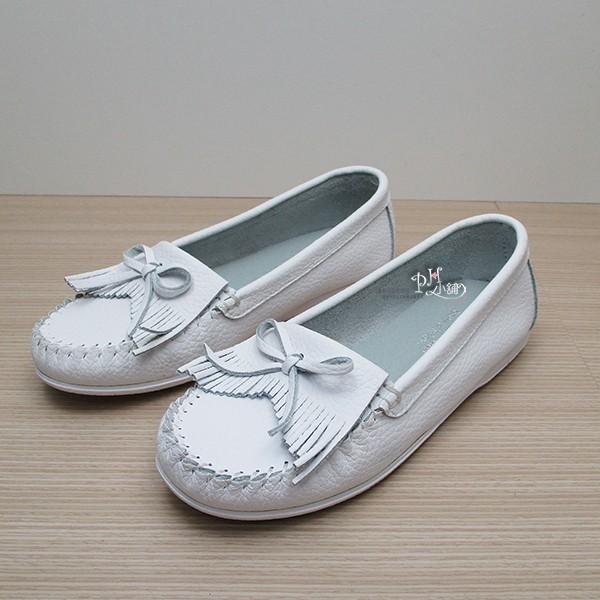 韓系莫卡辛小白鞋,真皮流蘇娃娃鞋,蝴蝶結車縫線 平底鞋,MIT  ~KA518 1 ~
