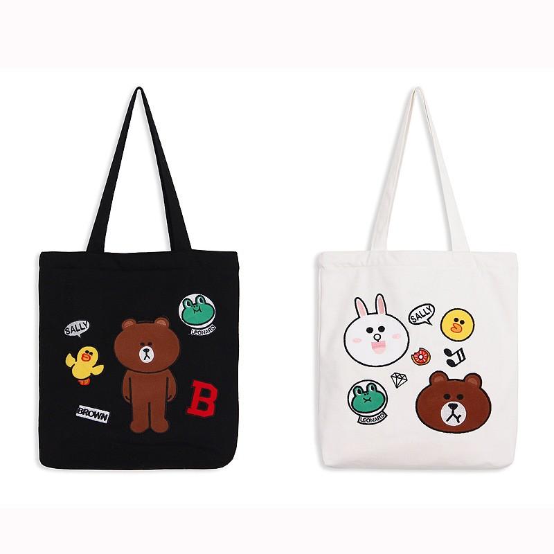 韓國定制LINE 熊大兔兔布朗熊單肩手提帆布包包格格L226
