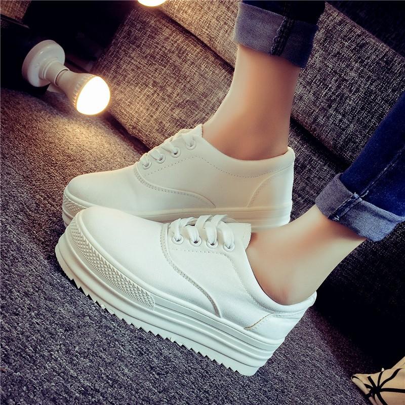 鞋館春夏小白鞋 帆布鞋女學生內增高女鞋休閒鞋厚底鬆糕鞋白色鞋子