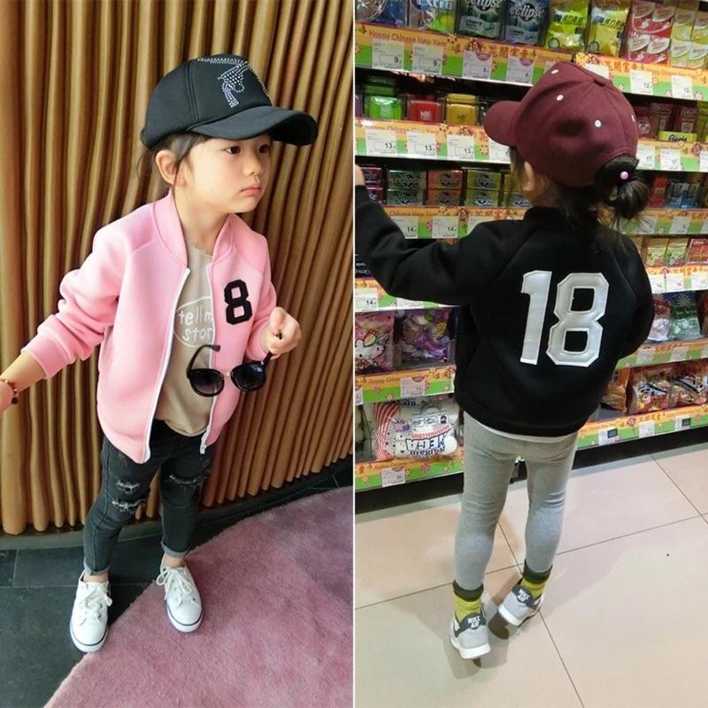 花兔子童装新品 男童女童棒球外套數字夾克上衣棒球夾克外套防風外套上衣百搭款牛仔外套