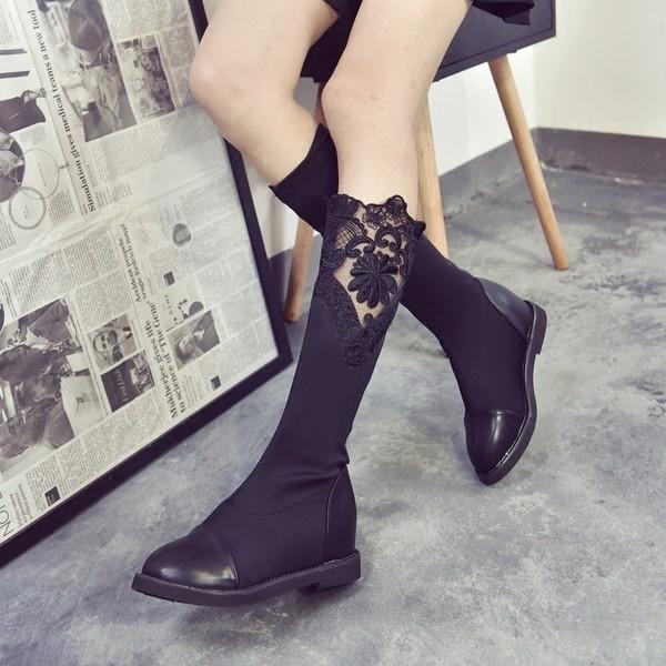 ~小光頭商店~2016 靴子女 長靴高筒靴彈力高筒內增高長筒靴蕾絲女鞋秋靴